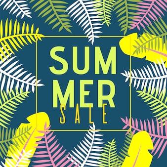Banner plano de venta de verano con plantas exóticas de dibujos animados de la selva