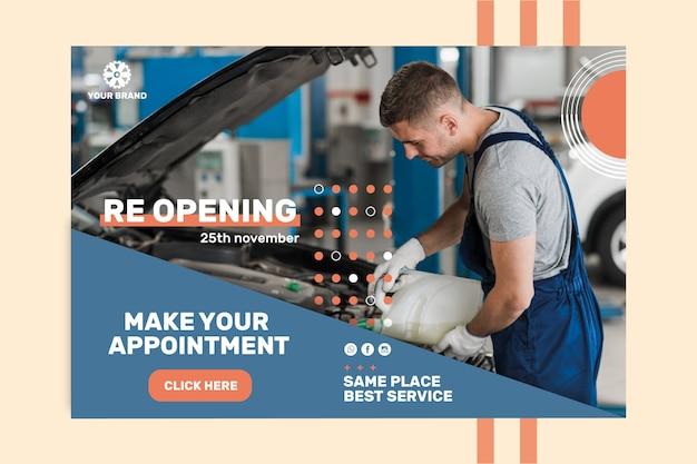 Banner de plantilla de anuncio mecánico