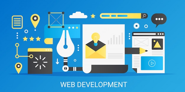 Banner de plantilla de concepto de desarrollo web degradado plano vectorial moderno con iconos y texto.