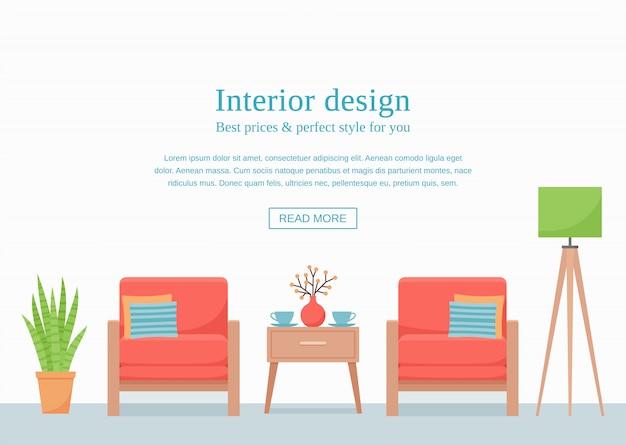Banner de plantilla de diseño de interiores
