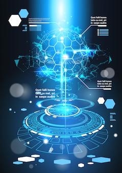 Banner de plantilla futurista de elementos de infografía con copia espacio tech resumen antecedentes gráficos