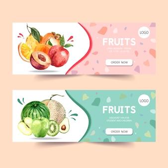 Banner con plantilla de ilustración acuarela de frutas, ciruela y melón.