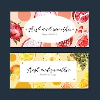 Banner con plantilla de ilustración de frutas, dragonfruit y limón