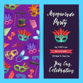 Banner de plantilla de invitación de fiesta, cartel con máscaras y conjunto de accesorios de fiesta