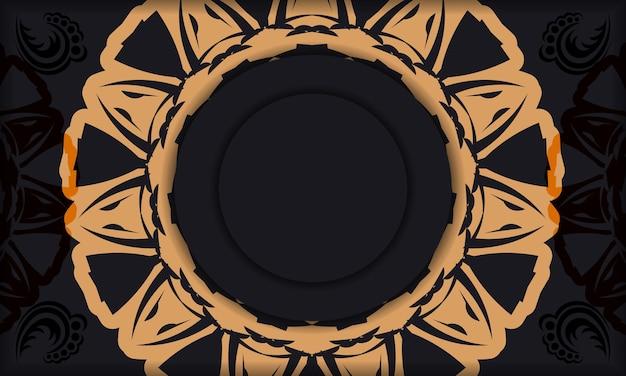 Banner de plantilla negra con adornos y lugar para su logo. diseño de fondo con patrones de lujo.