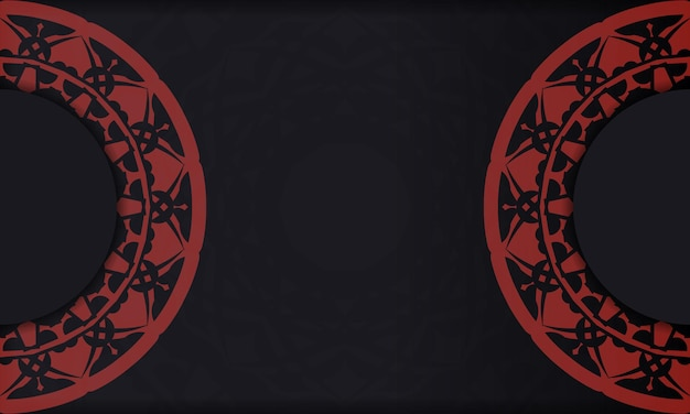 Banner de plantilla negra con adornos y lugar para su logo. diseño de fondo con patrones vintage.