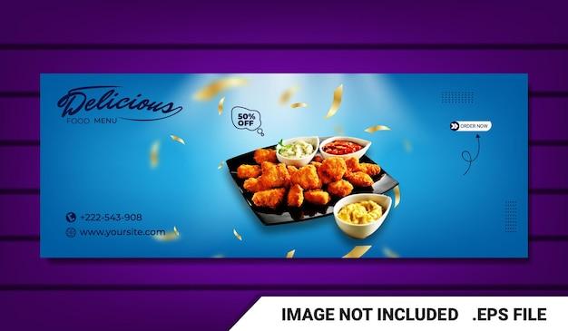 Banner plantilla de portada de facebook de pollo frito