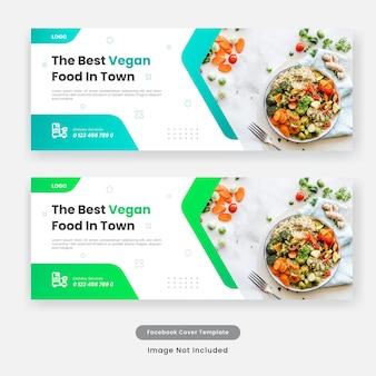 Banner de plantilla de portada de redes sociales de comida culinaria.