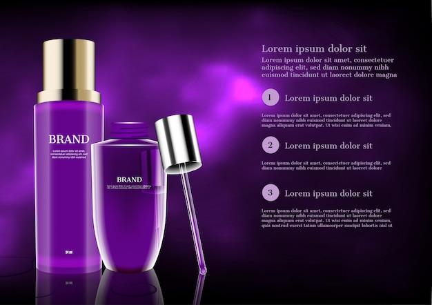 Banner de plantilla de productos cosméticos púrpura