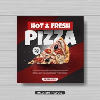 Banner de plantilla de publicación de redes sociales de comida de pizza caliente y fresca