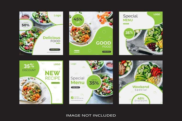 Banner de plantilla de publicación de redes sociales de menú de alimentos