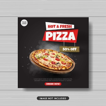 Banner de plantilla de publicación de redes sociales de pizza de comida caliente y fresca