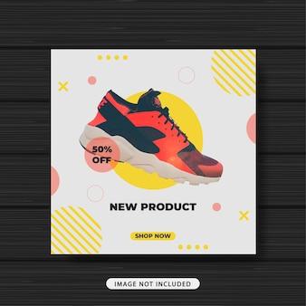 Banner de plantilla de publicación de redes sociales de promoción de venta de zapatillas de nuevo producto