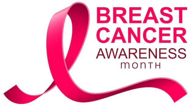 Banner de plantilla de texto de cinta rosa del mes de concientización sobre el cáncer de mama.