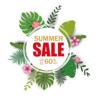 Banner de plantilla de venta de verano con hojas de palma, hoja de selva. verano tropical floral