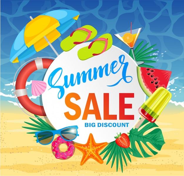 Banner de plantilla de venta de verano. ilustración con oferta de descuento especial. plantilla de banner web promocional para la venta de verano.