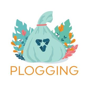 Banner de plogging, correr para el concepto de tierra. tendencia ecológica moderna, recogiendo basura plástica durante el trote o la carrera. estilo de vida ecológico y saludable.