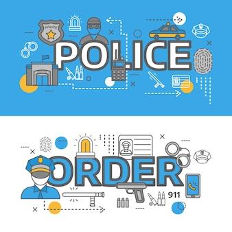 Banner de policía horizontal de línea de dos colores con ilustración de vector de descripciones de orden y policía