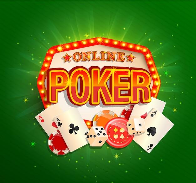 Banner de póquer en línea en marco de luz vintage