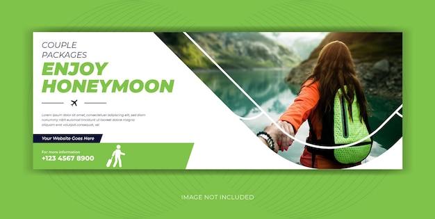 Banner de portada de facebook de publicación de redes sociales de agencia de viajes de viajes