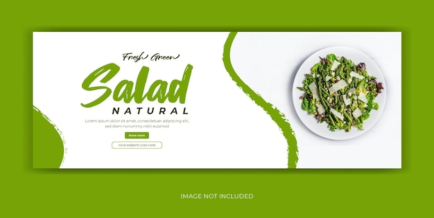 Banner de portada de facebook de redes sociales de restaurante de comida de ensalada