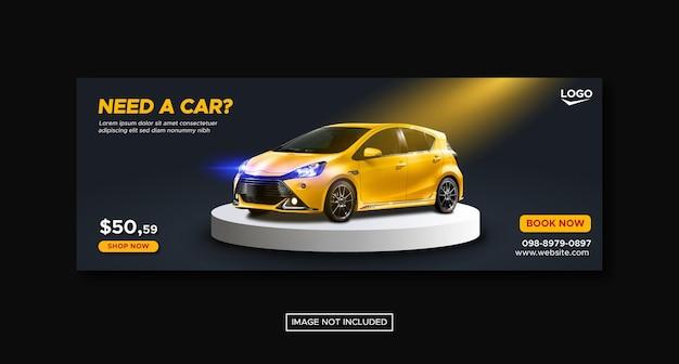 Banner de portada de redes sociales de promoción de alquiler de coches con plantilla de podio redondo