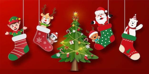 Banner de postal de navidad de santa claus y amigos en calcetín de navidad