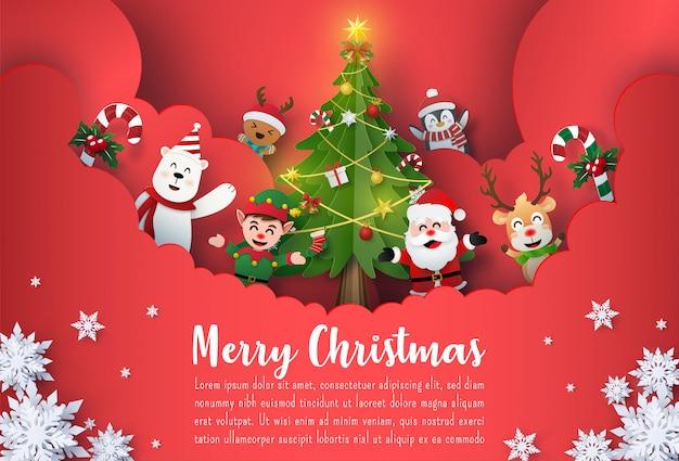 Banner de postal de navidad de santa claus y amigos