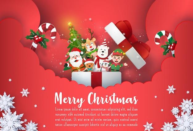 Banner de postal de navidad santa claus y personaje de dibujos animados lindo en caja de regalo