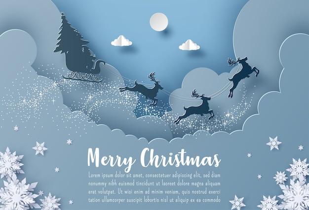Banner de postal de navidad santa claus y renos volando en el cielo
