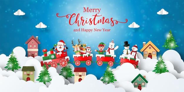 Banner de postal de navidad del tren de navidad con santa claus y amigos en la ciudad