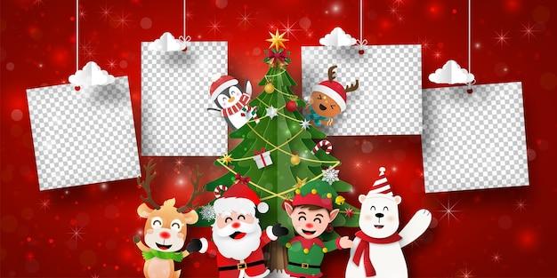 Banner de postal navideña de santa claus y amigos con marco de fotos