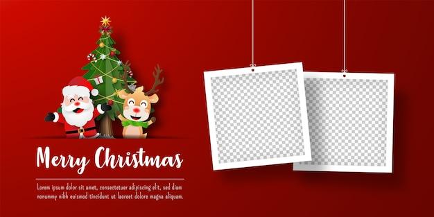 Banner de postal navideña de santa claus y renos con marco de fotos