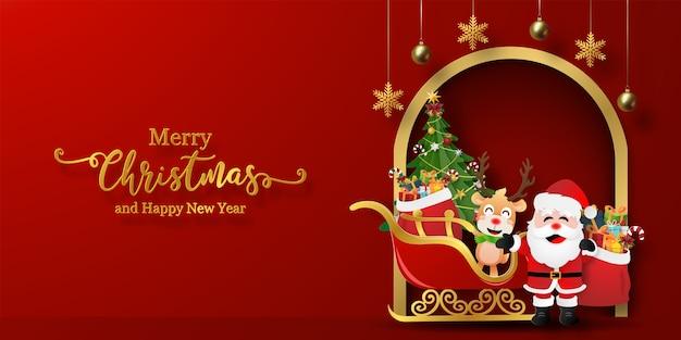 Banner de postal navideña de santa claus y renos con trineo
