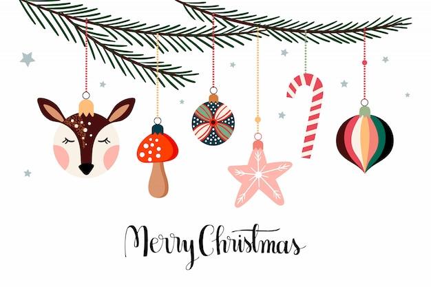 Banner de póster de navidad con decoraciones de invierno estacionales colgando de la rama de pino