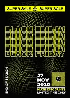 Banner, póster o plantilla flayer de tipografía amarilla de black friday. concepto de fondo de cuadrícula de desvanecimiento creativo. elementos decorativos abstractos de onda retro.