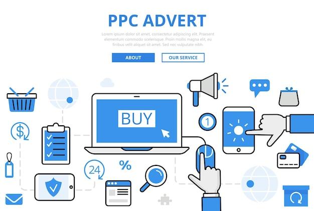 Banner ppc advert en estilo plano