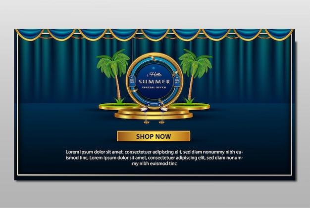 Banner de precios de gran venta 3d de podio de verano de lujo