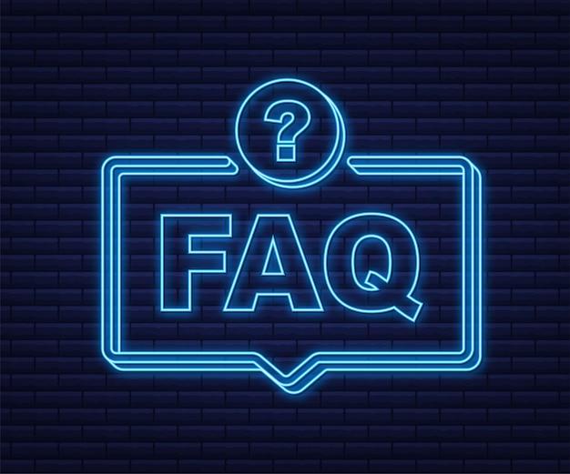 Banner de preguntas frecuentes sobre preguntas frecuentes. icono de neón. computadora con iconos de preguntas. ilustración vectorial.