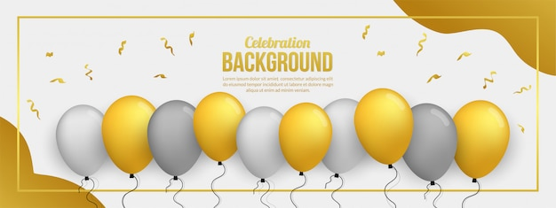 Banner premium de globos dorados para fiesta de cumpleaños, graduación, evento de celebración y vacaciones