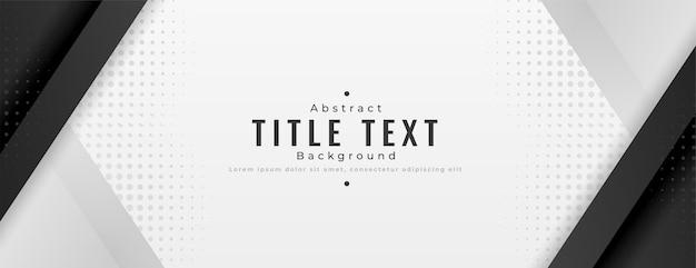 Banner de presentación amplia y moderna en tono blanco y negro