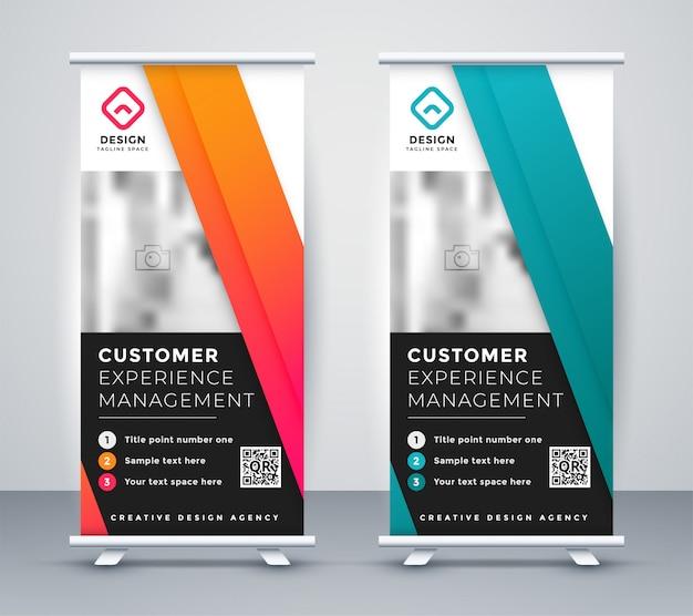 Banner de presentación de la empresa rollup en dos colores.