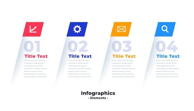 Banner de presentación de infografía de cuatro pasos