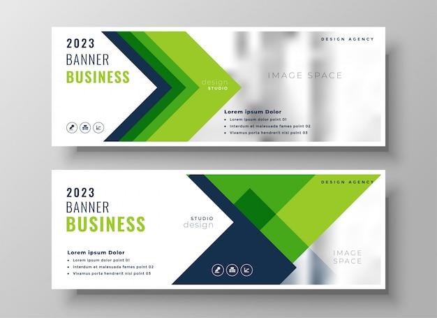 Banner de presentación de negocios verde elegante