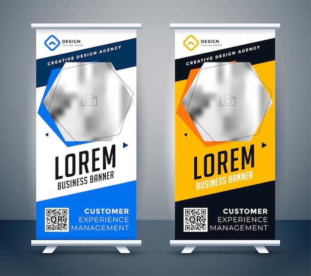 Banner de presentación rollup en estilo creativo moderno