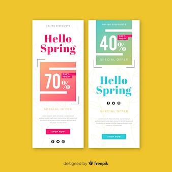 Banner de primavera en diseño plano