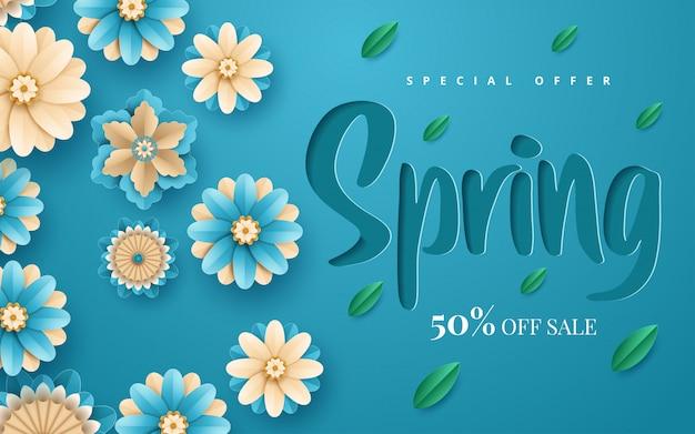 Banner de primavera con flores de papel para compras en línea, acciones publicitarias, revistas y sitios web