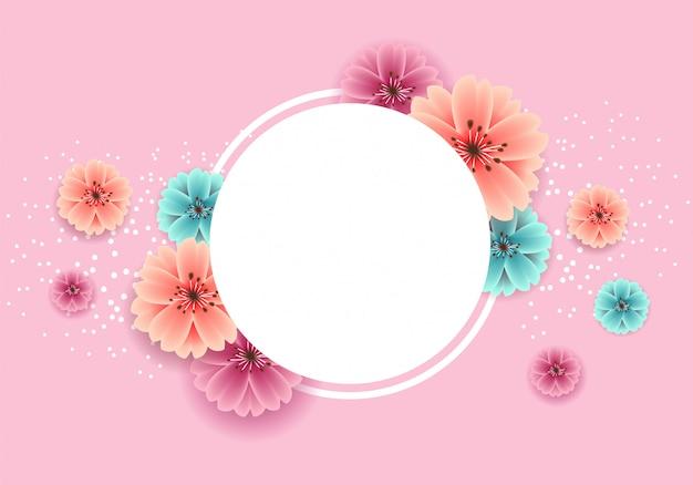 Banner de primavera hermosa con flores de colores