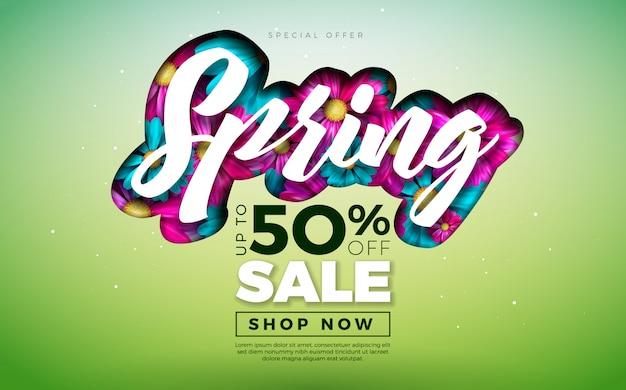 Banner de primavera plantilla de diseño floral con letra de tipografía