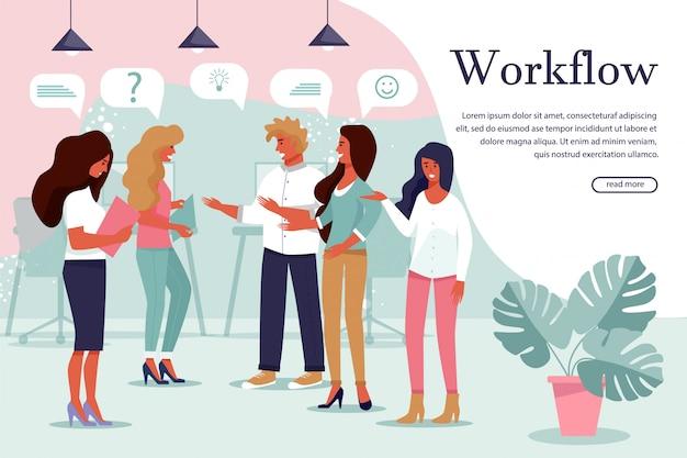 Banner de proceso de flujo de trabajo efectivo y exitoso